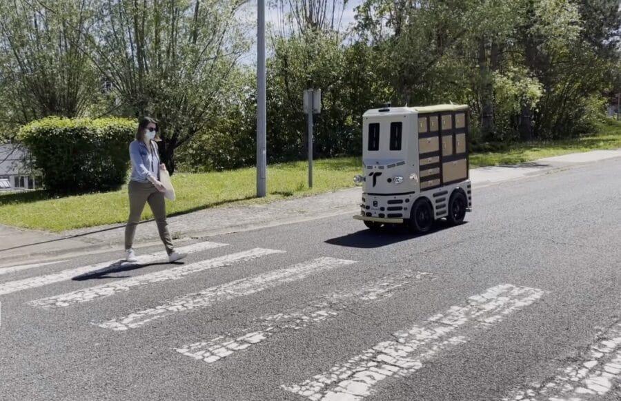 The autonomous robot giving way to a pedestrian