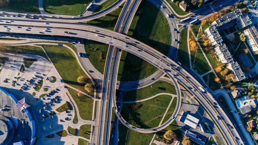 Roads, aerial view