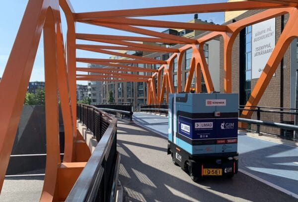 LMAD's robot on a bridge in Helsinki
